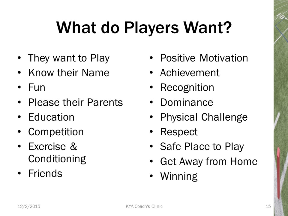 What do youth football players want?